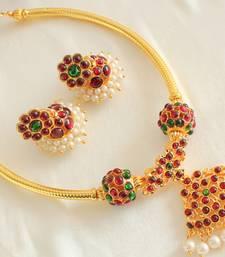 Buy BEAUTIFUL GOLD PLATED HANDMADE KEMP BALLS TEMPLE NECKLACE SET-DJ15941 necklace-set online