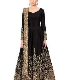 Buy Black embroidered fancy fabric salwar anarkali-salwar-kameez online