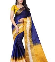 Buy Purple printed tussar silk saree with blouse tussar-silk-saree online