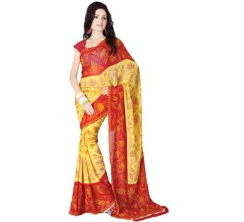 Yellow Red Printed Saree