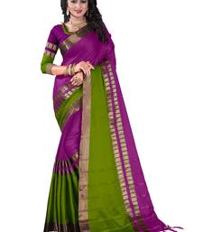Buy Purple plain cotton silk saree with blouse bhagalpuri-silk-saree online