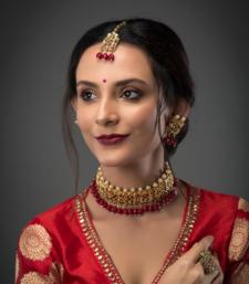 Buy Kundan and red onyx choker necklace set necklace-set online