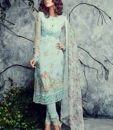 Buy blue embroidered georgette semi stitched salwar with dupatta pakistani-salwar-kameez online