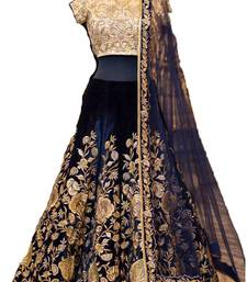 Buy Blue embroidered velvet unstitched lehenga bollywood-lehenga online