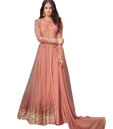 Buy Peach Colour embroidered work net designer salwar suit. net-salwar-suit online