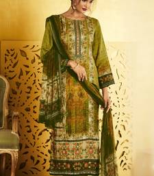 Buy multicolor German silk with digital print and Gota patti handwork unstitched salwar with dupatta dress-material online