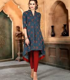 Buy Blue printed rayon party-wear-kurtis party-wear-kurtis online