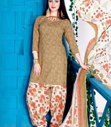 Buy Beige  printed cotton salwar punjabi-suit online