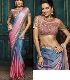 Buy Multicolor plain chiffon saree with blouse fancy-saree online