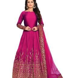 Buy Rani-pink embroidered silk salwar anarkali-salwar-kameez online