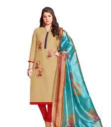Buy Beige embroidered chanderi salwar chanderi-salwar-kameez online