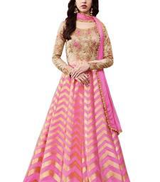 Buy Pink embroidered brocade semi-stitched anarkali salwar with dupatta anarkali-salwar-kameez online