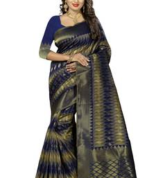 Buy Navy blue woven kanchipuram silk saree with blouse kanchipuram-silk-saree online