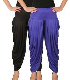 Buy Black and Blue plain Lycra free size combo patialas pants patiala-combo online