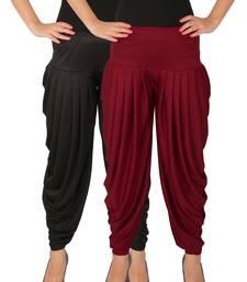 Buy Black and Maroon plain Lycra free size combo patialas pants patiala-combo online