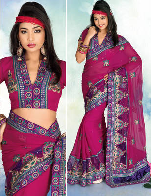 Goldmine909 Chiffon Embroidered Sari
