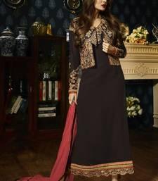 Buy Brown embroidered georgette semi stitched salwar with dupatta malaika-arora-khan online