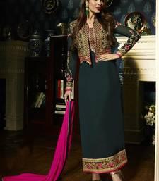 Buy Dark green embroidered georgette semi stitched salwar with dupatta malaika-arora-khan online
