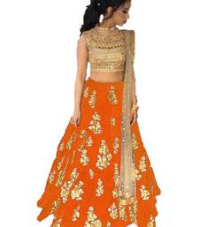 Buy Orange embrodered silk designer lehenga choli with blouse and dupatta lehenga-choli online