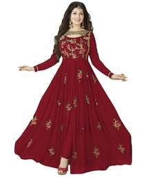 Buy Red embroidered faux georgette salwar anarkali-salwar-kameez online