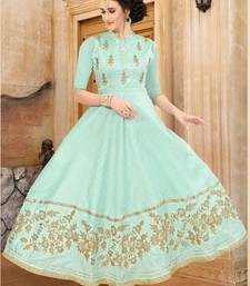 Buy sea green embroidered Mulberry Silk Semi-stitched Gown heavy-work-kurtis online