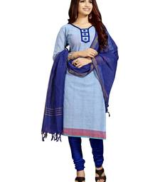 Buy Blue printed cotton stitched salwar with dupatta readymade-suit online