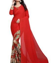 Buy Red printed georgette saree with blouse bridal-saree online