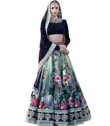 Buy Multicolor thread embroidery silk semi stitched lehenga bridal-lehenga online