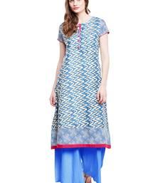 Buy Chhabra 555 Blue & White  Coloured Printed Cotton Stitched Straight Kurta party-wear-kurtis online