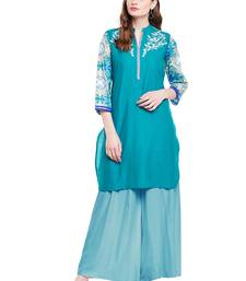 Buy Chhabra 555 Peacock Blue Coloured Embroidered Cotton Stitched Straight Kurta party-wear-kurtis online