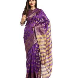 Buy Chhabra 555 Purple Woven Art Silk Saree With Blouse art-silk-saree online