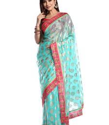 Buy Chhabra 555 Blue Printed Georgette Saree With Blouse georgette-saree online