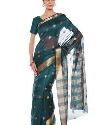 Buy Chhabra 555 Green Woven Banarasi Silk Saree With Blouse all-seasons-saree online