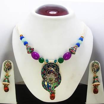 Meenakari Leafy Pendant Necklace Peacock Blues 2