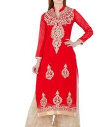 Buy Red embroidered georgette long kurtis long-kurtis online