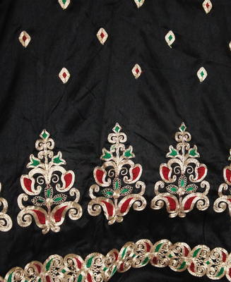 Rich Black Semi Raw Silk Embroidered Material for kurta