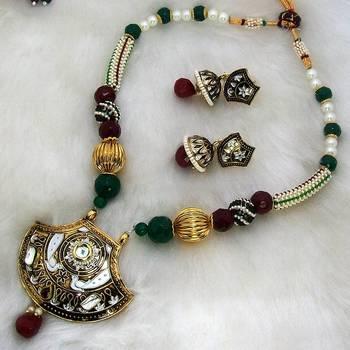 Meenakari Traditional Oxidised Pendant Necklace 2