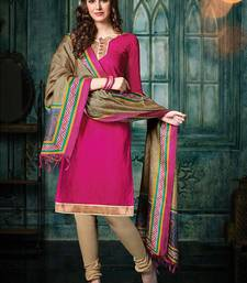 Buy Magenta plain jacquard unstitched salwar with dupatta ethnic-suit online