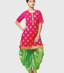 Buy Rani Pink Paper Foil Print Heavy Dhupian Partywear Patiala Suit For Girls Wear kids-salwar-suit online