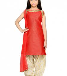 Buy Shiner Red Heavy Brocade Silk Dori Embroidery Lace ReadyMade Kids Straight Patiala Suit (2-12 year girl) kids-salwar-suit online
