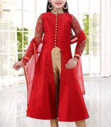 Buy Levish Red Sequance Embroidery Banglori Silk With Net Anarkali Style ReadyMade Kids Salwar Suit kids-salwar-suit online