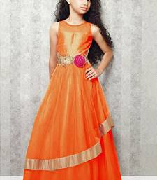 Buy Orange Embroidery Satin Silk Festival Special Gown Dress For Kids Wear kids-girl-gown online