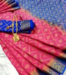 Buy Pink Raw Silk Fancy Gicha Diamond Brocade saree with contrast Pallu and unstitch Blouse brocade-saree online