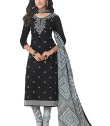Buy Black Printed Cotton unstitched salwar with dupatta dress-material online