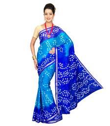 Buy Blue printed chiffon saree tie-dye-saree online