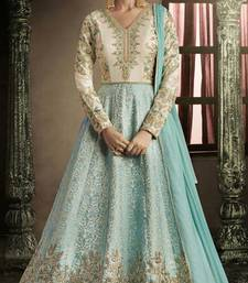Buy Sky-blue embroidered brocade salwar wedding-salwar-kameez online