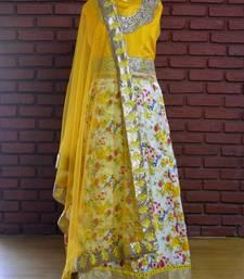 Buy Yellow  banglori satin silk long anarkali suit anarkali-salwar-kameez online