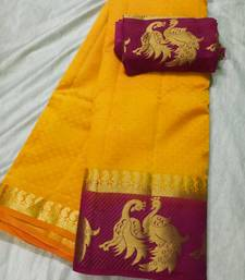 Buy Yellow Tussar silk saree with pair peacock border tussar-silk-saree online