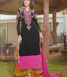 Buy Black and pink designer semi stitched georgette palazzo suit with dupatta palazzo online