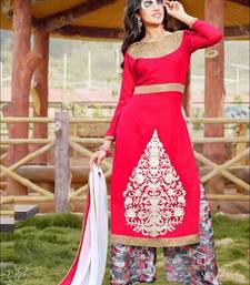 Buy Red and white designer semi stitched georgette palazzo suit with dupatta palazzo online